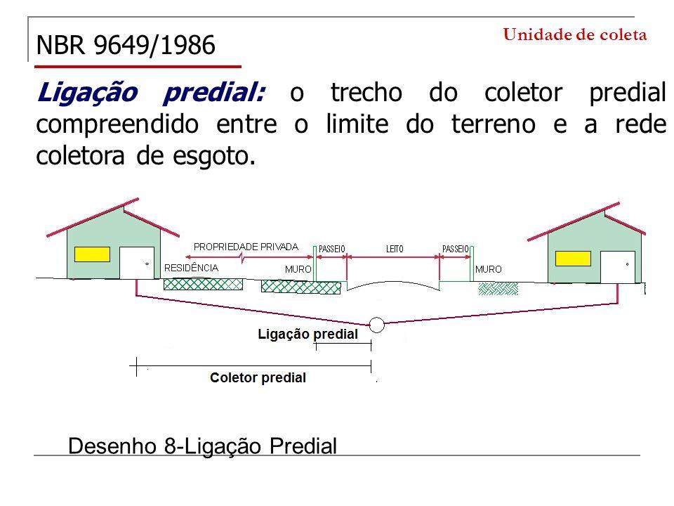 Unidade de coleta NBR 9649/1986. Ligação predial: o trecho do coletor predial compreendido entre o limite do terreno e a rede coletora de esgoto.