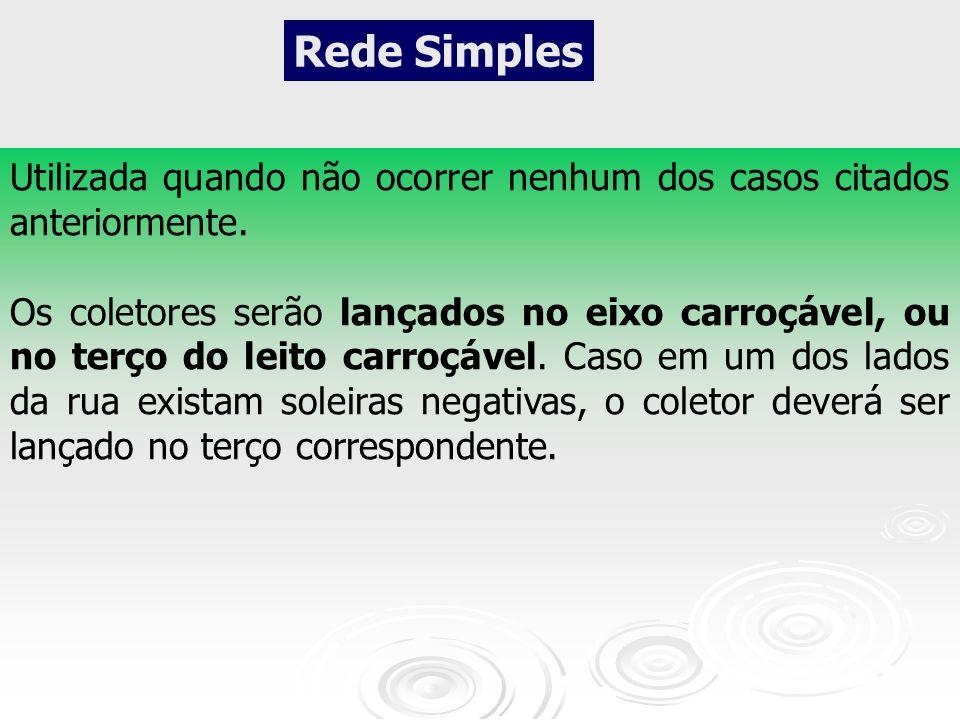 Rede Simples Utilizada quando não ocorrer nenhum dos casos citados anteriormente.