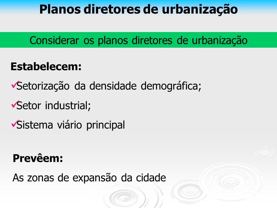 Planos diretores de urbanização