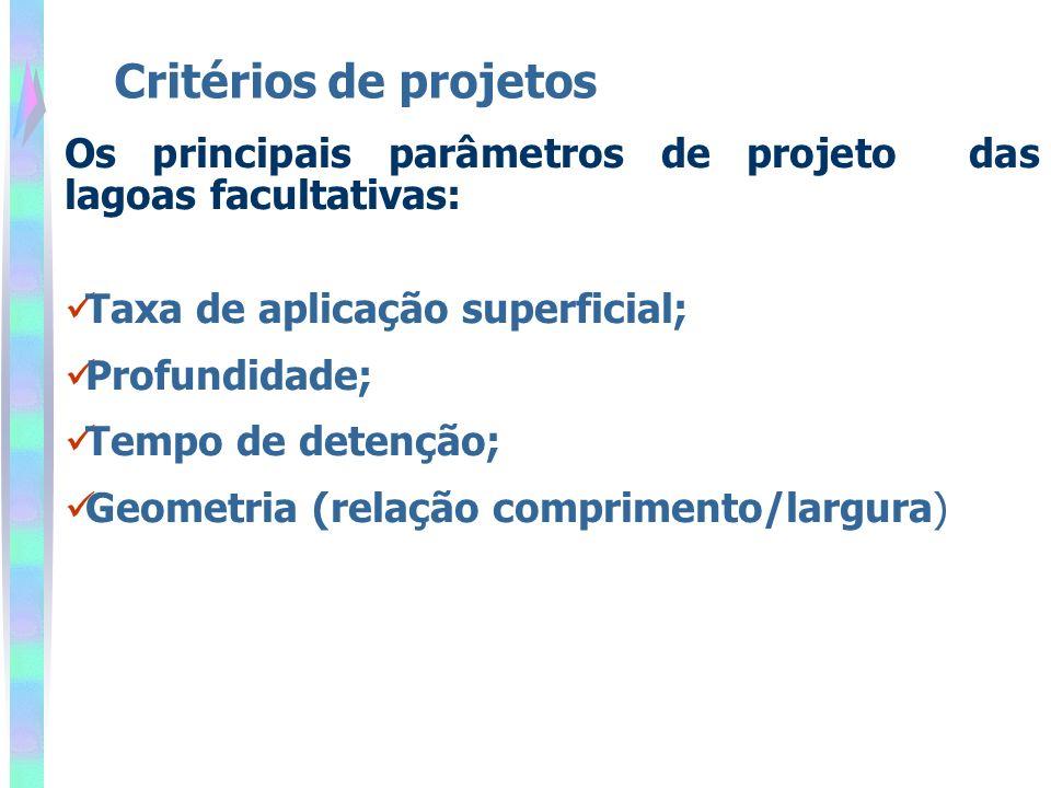 Critérios de projetos Os principais parâmetros de projeto das lagoas facultativas: Taxa de aplicação superficial;