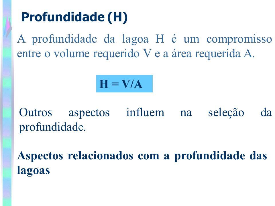 Profundidade (H) A profundidade da lagoa H é um compromisso entre o volume requerido V e a área requerida A.