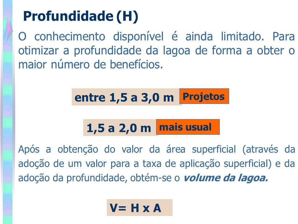 Profundidade (H) O conhecimento disponível é ainda limitado. Para otimizar a profundidade da lagoa de forma a obter o maior número de benefícios.