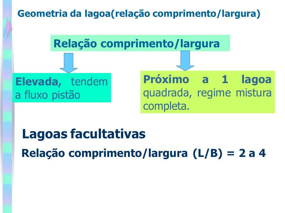 Relação comprimento/largura (L/B) = 2 a 4