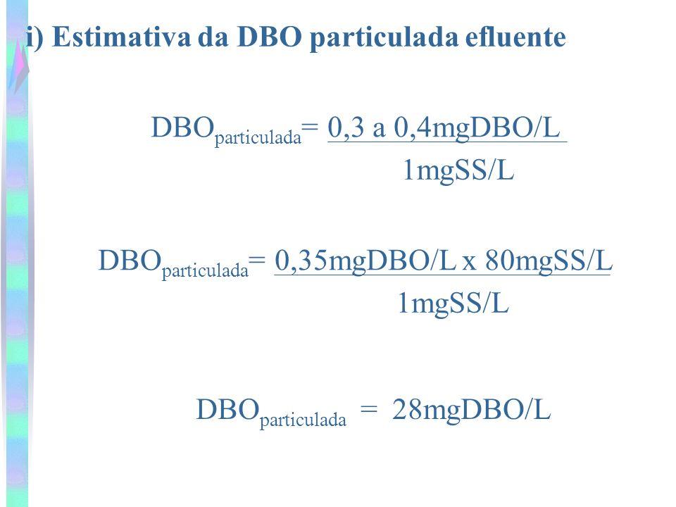 i) Estimativa da DBO particulada efluente