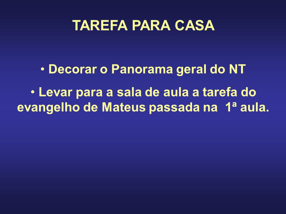 Decorar o Panorama geral do NT