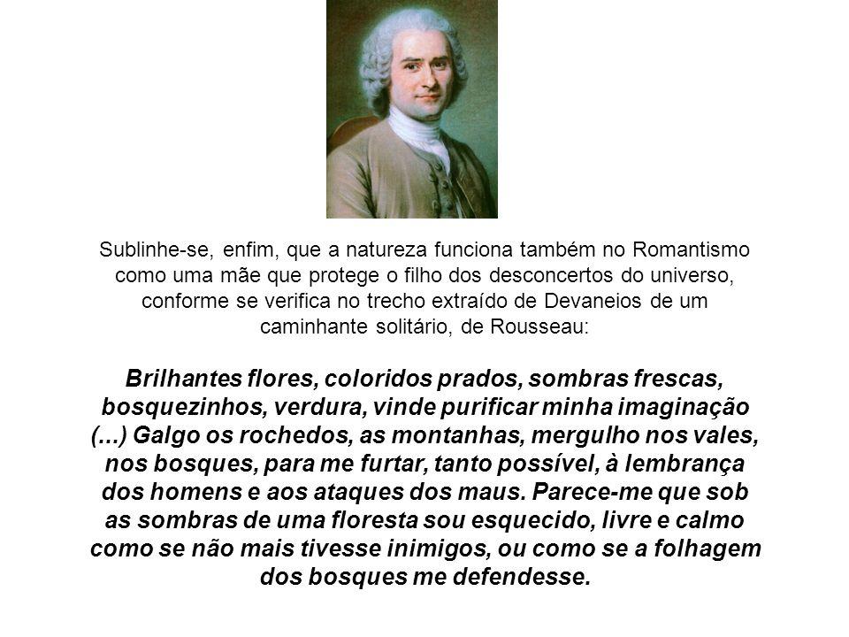 Sublinhe-se, enfim, que a natureza funciona também no Romantismo como uma mãe que protege o filho dos desconcertos do universo, conforme se verifica no trecho extraído de Devaneios de um caminhante solitário, de Rousseau: