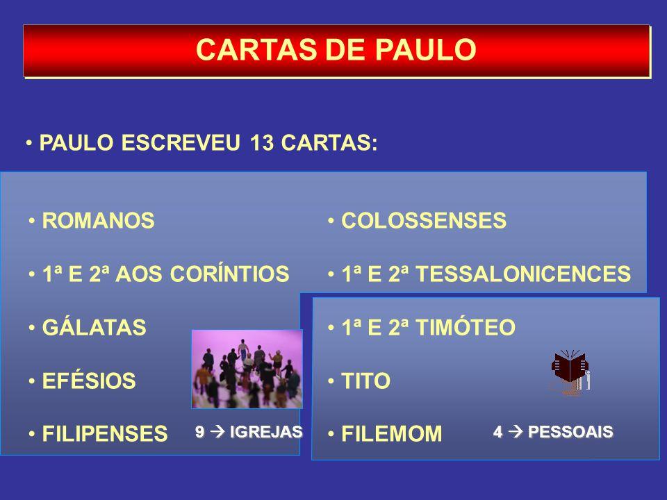 CARTAS DE PAULO PAULO ESCREVEU 13 CARTAS: ROMANOS