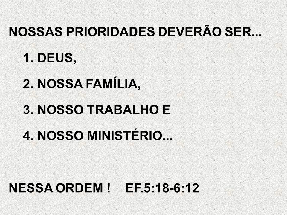 NOSSAS PRIORIDADES DEVERÃO SER...