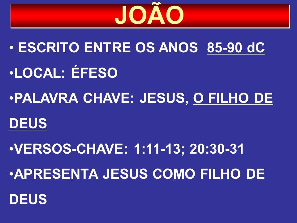 JOÃO ESCRITO ENTRE OS ANOS 85-90 dC LOCAL: ÉFESO