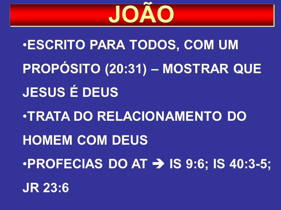 JOÃO ESCRITO PARA TODOS, COM UM PROPÓSITO (20:31) – MOSTRAR QUE JESUS É DEUS. TRATA DO RELACIONAMENTO DO HOMEM COM DEUS.