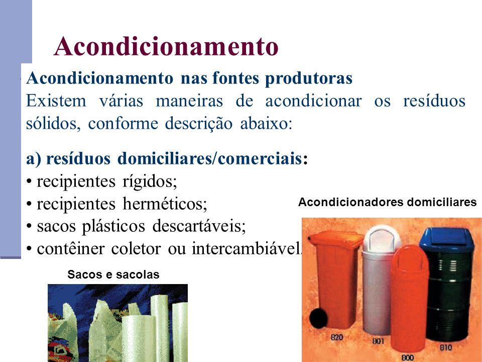Acondicionamento Acondicionamento nas fontes produtoras