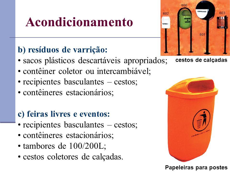 Acondicionamento b) resíduos de varrição: