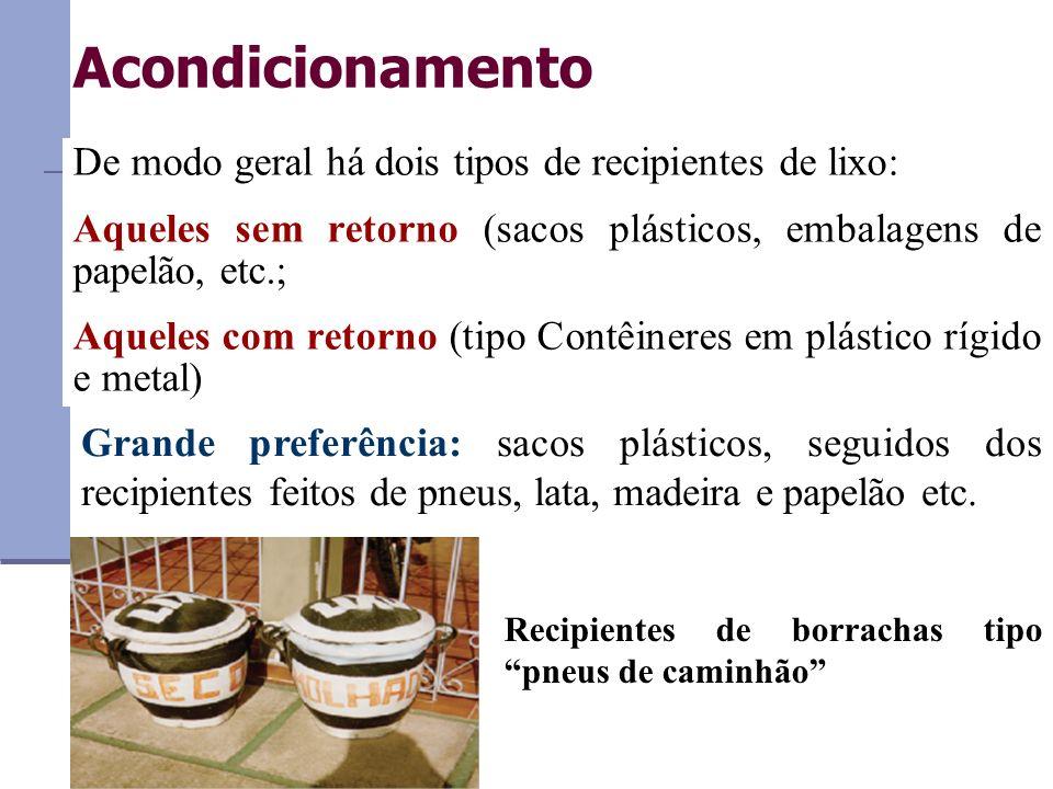 Acondicionamento De modo geral há dois tipos de recipientes de lixo: