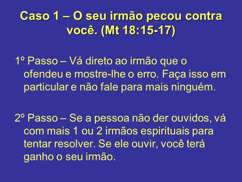 Caso 1 – O seu irmão pecou contra você. (Mt 18:15-17)