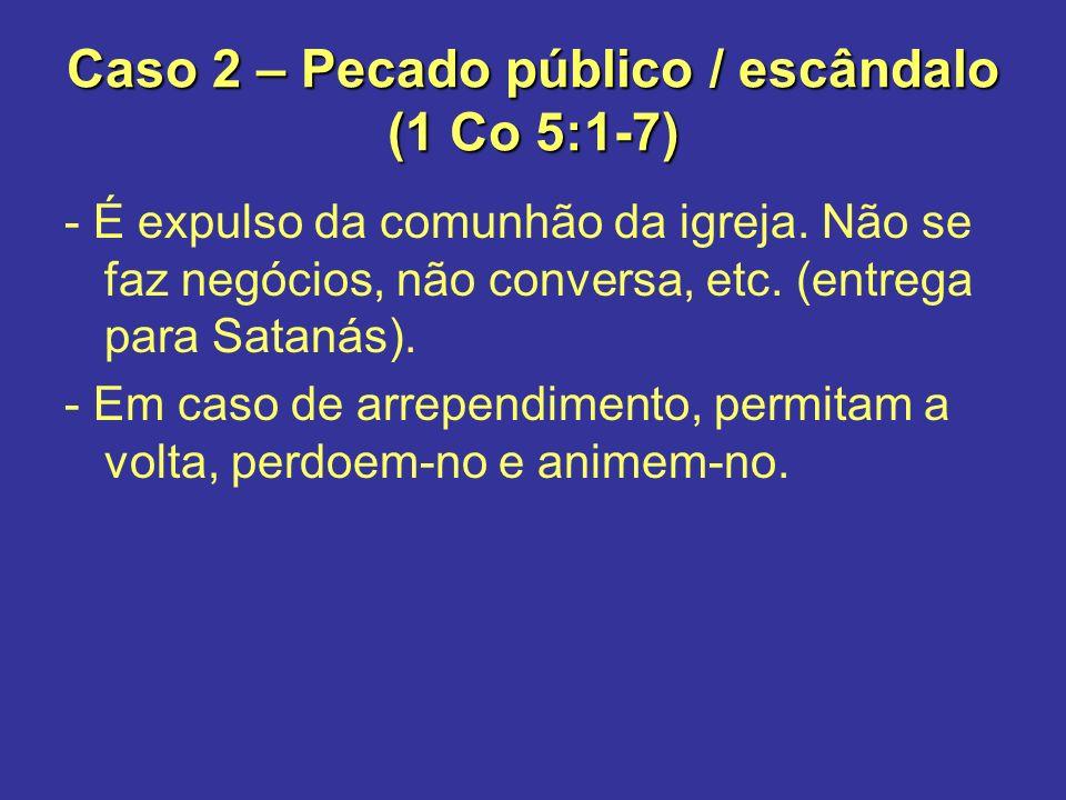 Caso 2 – Pecado público / escândalo (1 Co 5:1-7)