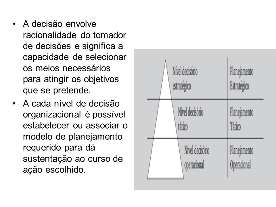 A decisão envolve racionalidade do tomador de decisões e significa a capacidade de selecionar os meios necessários para atingir os objetivos que se pretende.