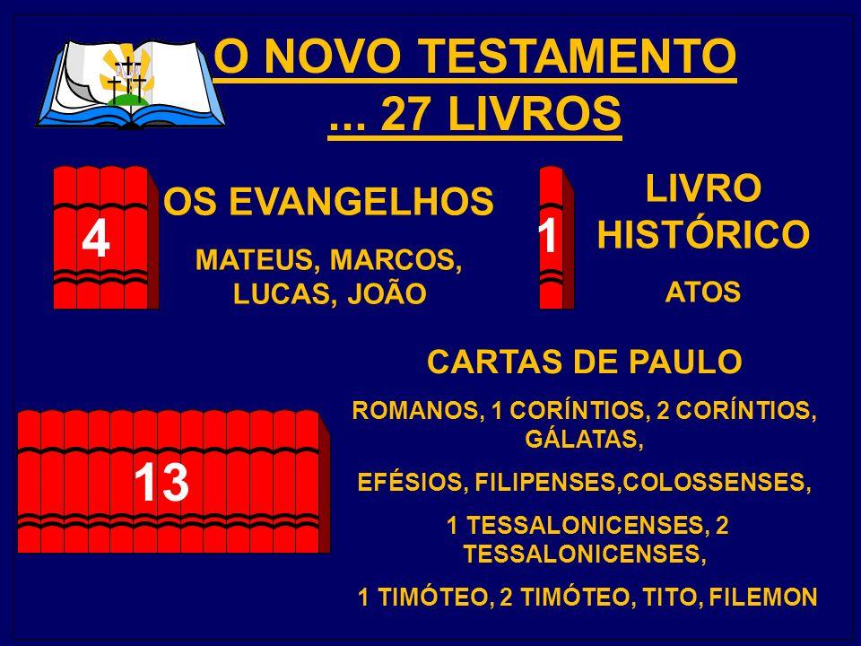 4 13 O NOVO TESTAMENTO ... 27 LIVROS 1 LIVRO HISTÓRICO OS EVANGELHOS