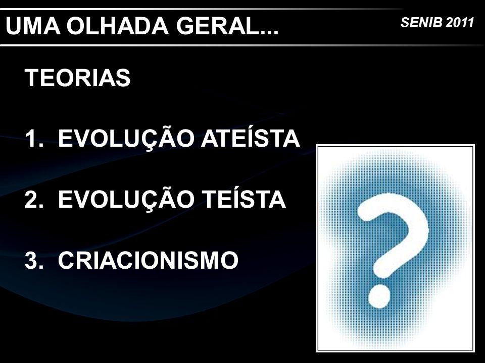 UMA OLHADA GERAL... TEORIAS EVOLUÇÃO ATEÍSTA EVOLUÇÃO TEÍSTA CRIACIONISMO