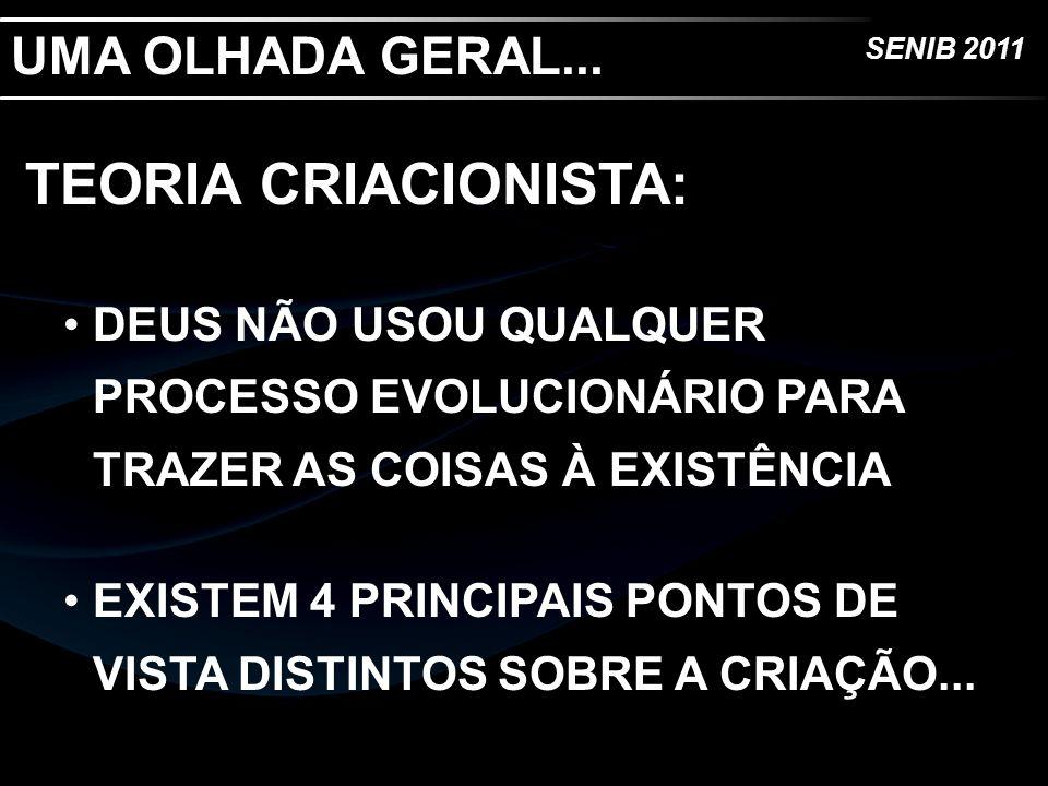 UMA OLHADA GERAL... TEORIA CRIACIONISTA: