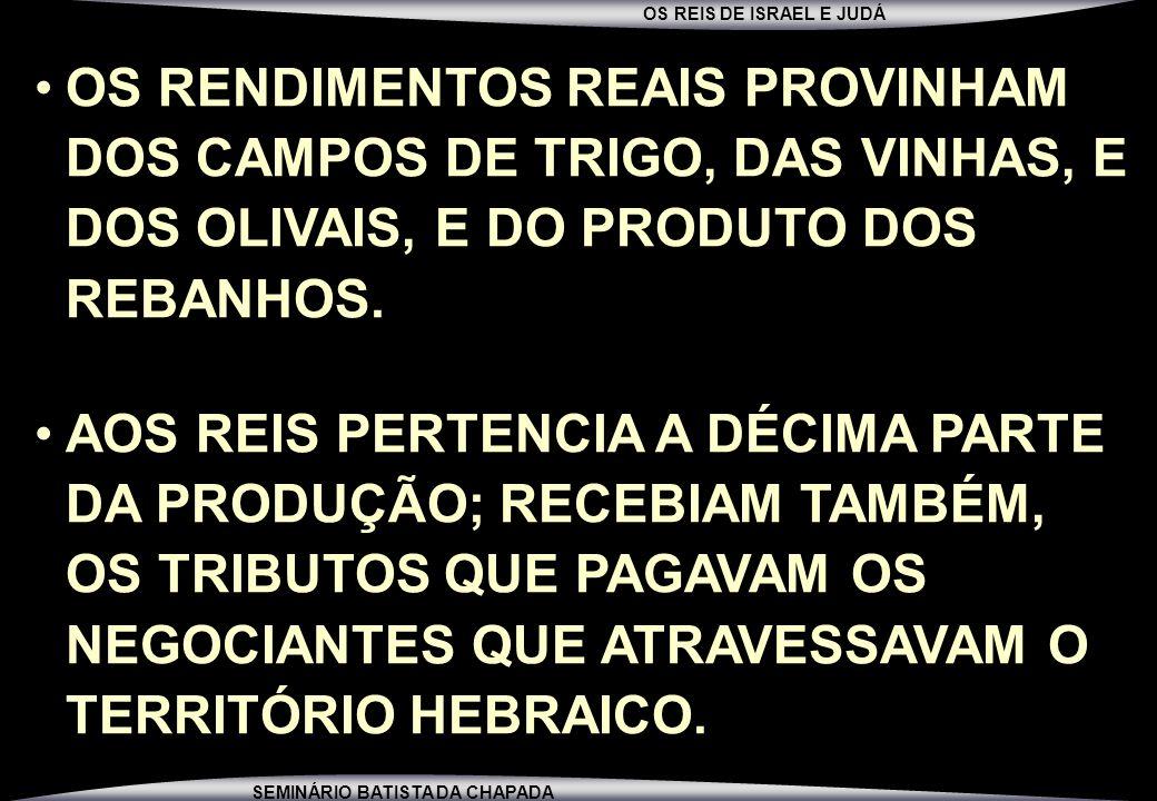 OS RENDIMENTOS REAIS PROVINHAM DOS CAMPOS DE TRIGO, DAS VINHAS, E DOS OLIVAIS, E DO PRODUTO DOS REBANHOS.