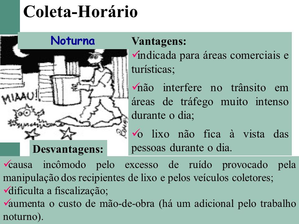 Coleta-Horário Noturna Vantagens: