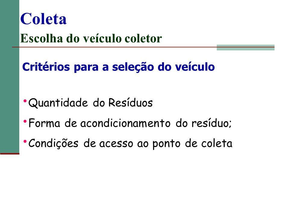 Coleta Escolha do veículo coletor Critérios para a seleção do veículo