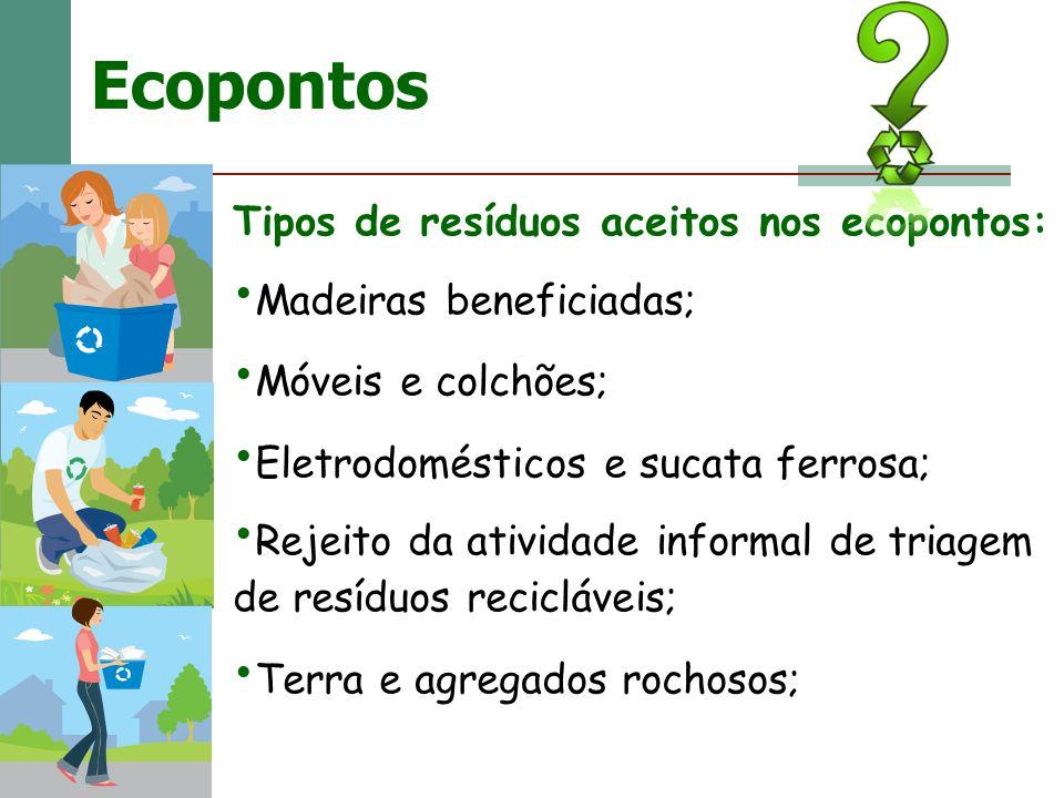 Ecopontos Tipos de resíduos aceitos nos ecopontos: