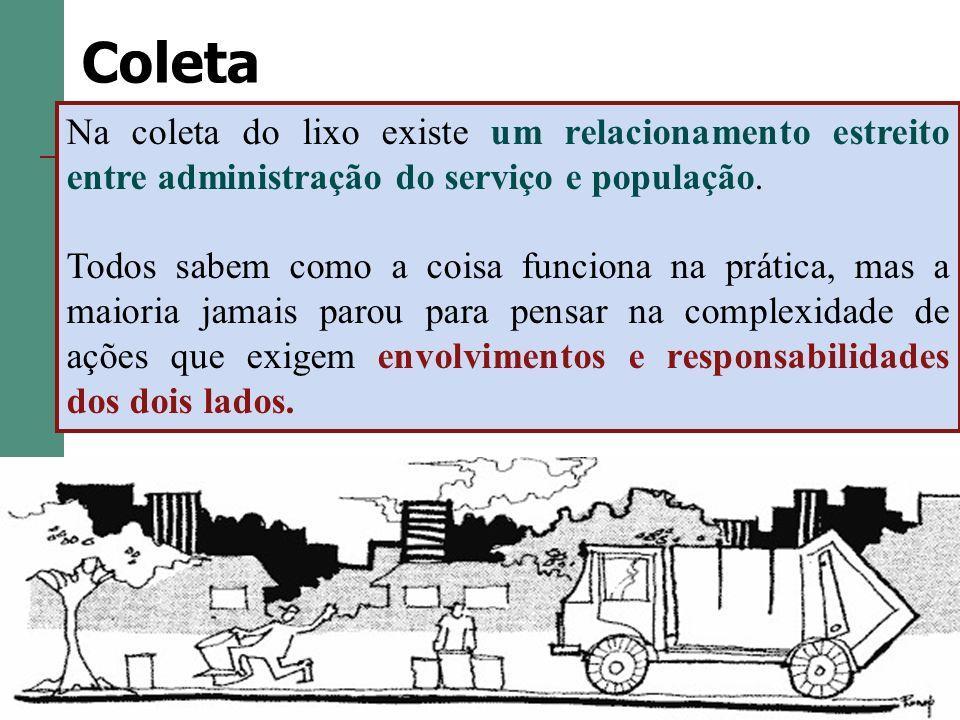 Coleta Na coleta do lixo existe um relacionamento estreito entre administração do serviço e população.