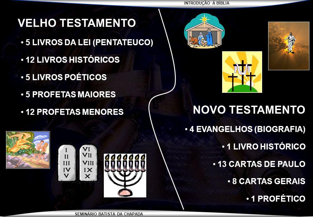 VELHO TESTAMENTO NOVO TESTAMENTO 5 LIVROS DA LEI (PENTATEUCO)