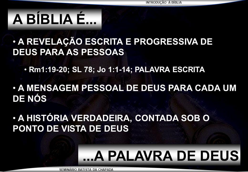 A BÍBLIA É... ...A PALAVRA DE DEUS