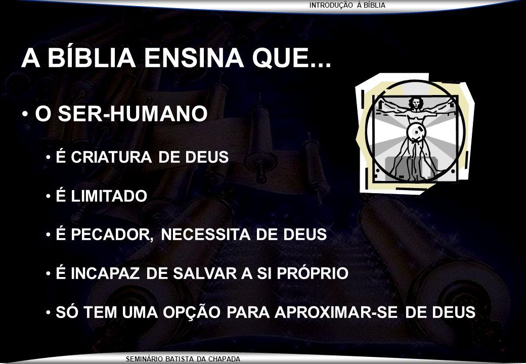 A BÍBLIA ENSINA QUE... O SER-HUMANO É CRIATURA DE DEUS É LIMITADO