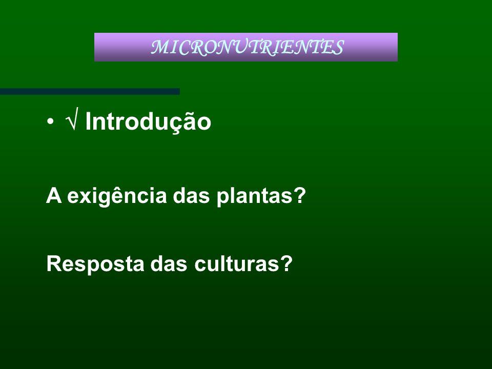  Introdução MICRONUTRIENTES A exigência das plantas