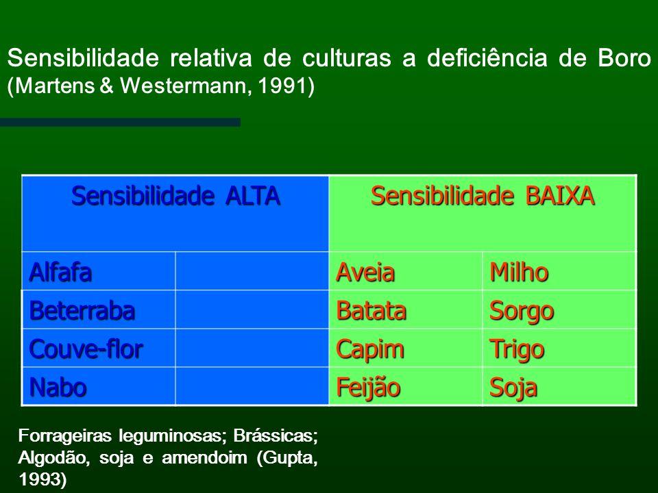 Sensibilidade relativa de culturas a deficiência de Boro (Martens & Westermann, 1991)