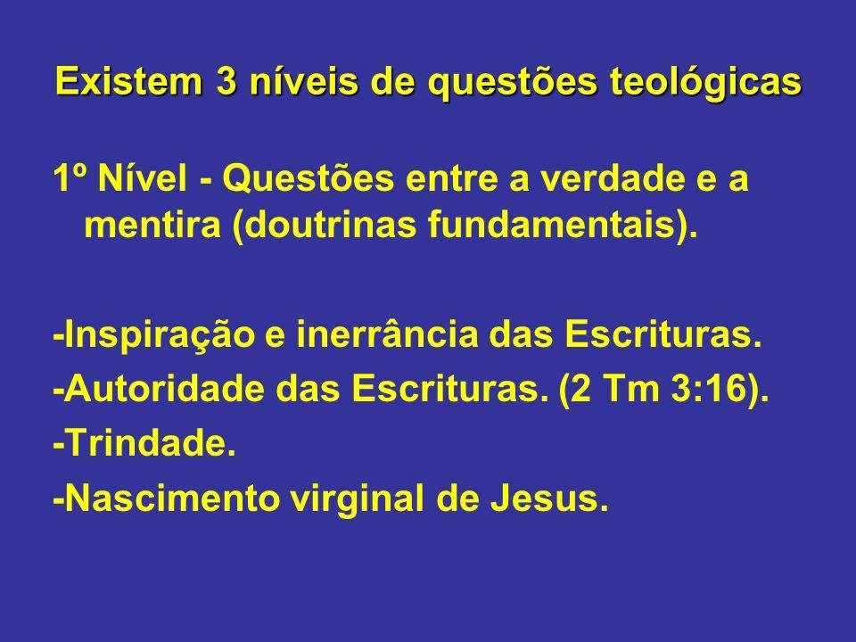Existem 3 níveis de questões teológicas