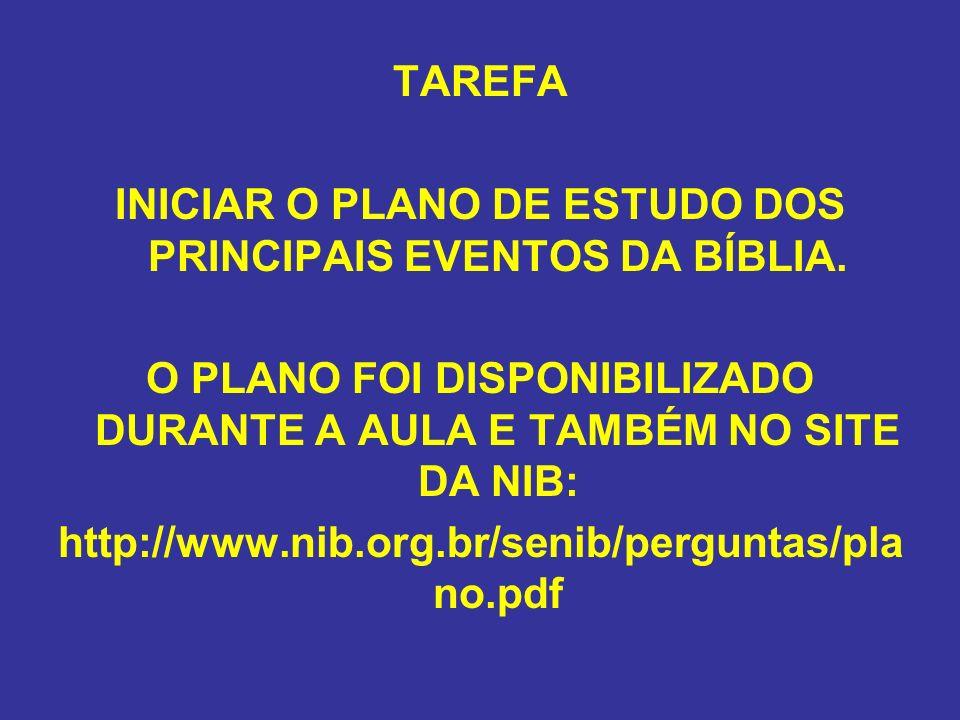 INICIAR O PLANO DE ESTUDO DOS PRINCIPAIS EVENTOS DA BÍBLIA.