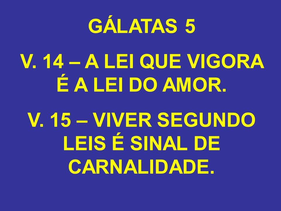 V. 14 – A LEI QUE VIGORA É A LEI DO AMOR.