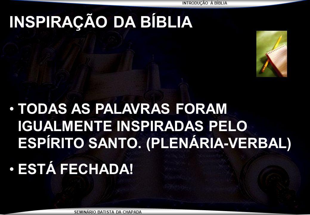 INSPIRAÇÃO DA BÍBLIA TODAS AS PALAVRAS FORAM IGUALMENTE INSPIRADAS PELO ESPÍRITO SANTO. (PLENÁRIA-VERBAL)