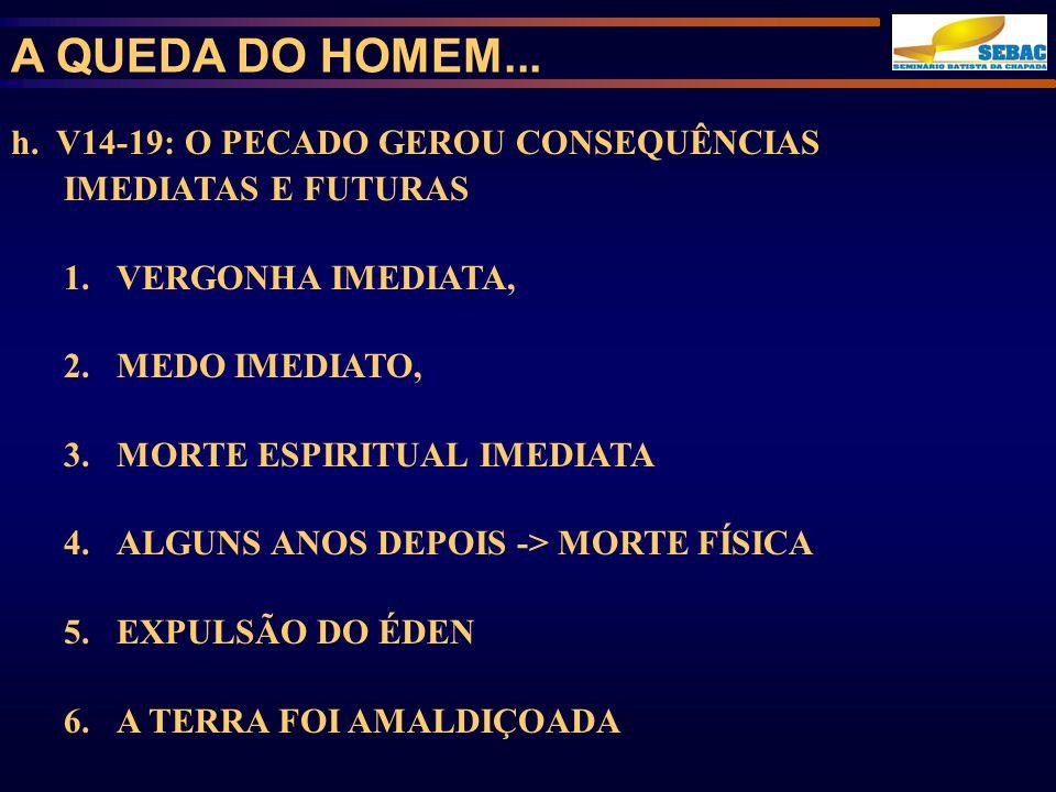 A QUEDA DO HOMEM... h. V14-19: O PECADO GEROU CONSEQUÊNCIAS IMEDIATAS E FUTURAS. VERGONHA IMEDIATA,