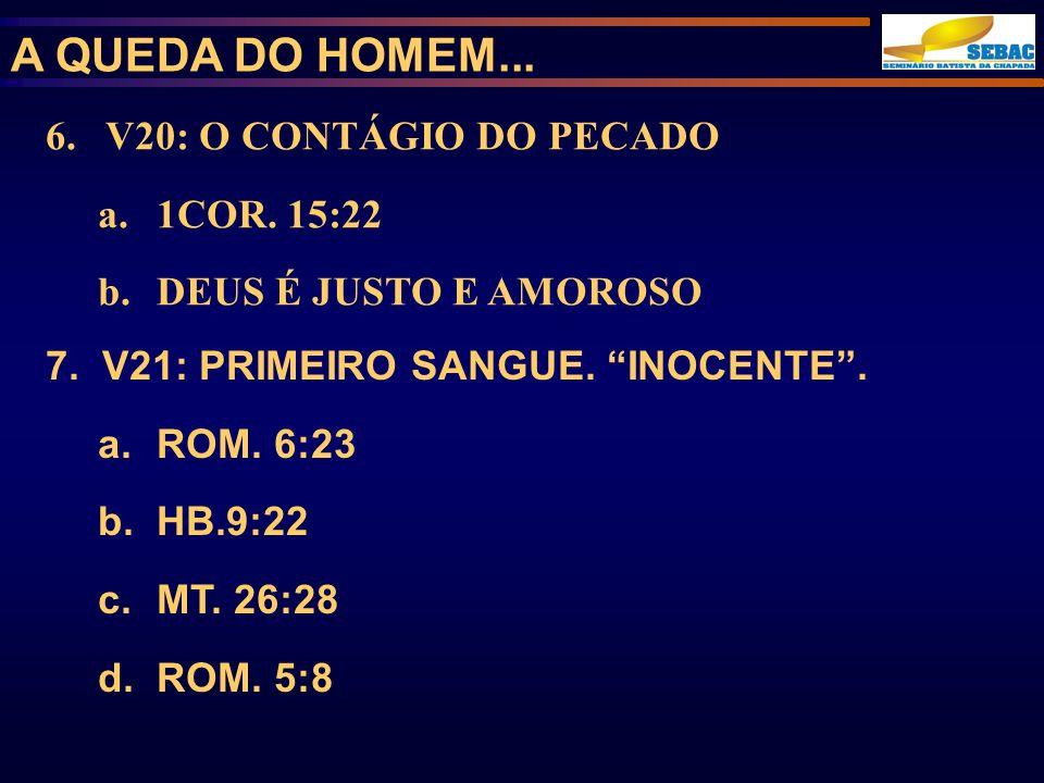 A QUEDA DO HOMEM... 6. V20: O CONTÁGIO DO PECADO 1COR. 15:22