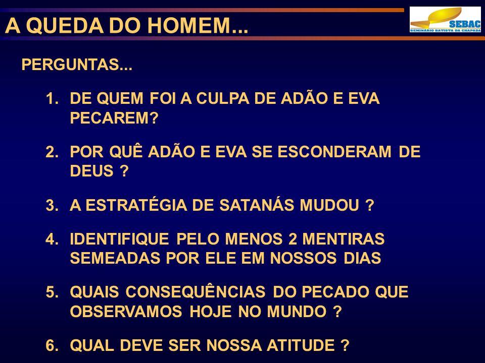 A QUEDA DO HOMEM... PERGUNTAS...