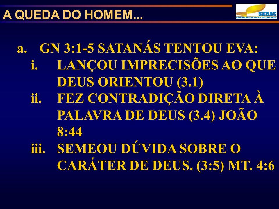 GN 3:1-5 SATANÁS TENTOU EVA: