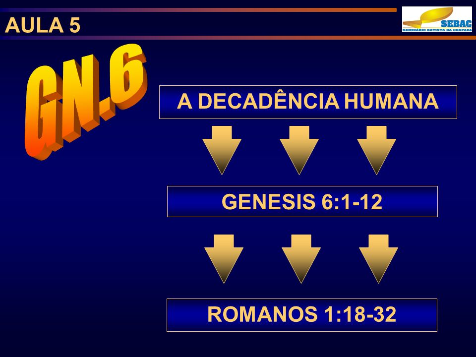 A DECADÊNCIA HUMANA GENESIS 6:1-12 ROMANOS 1:18-32