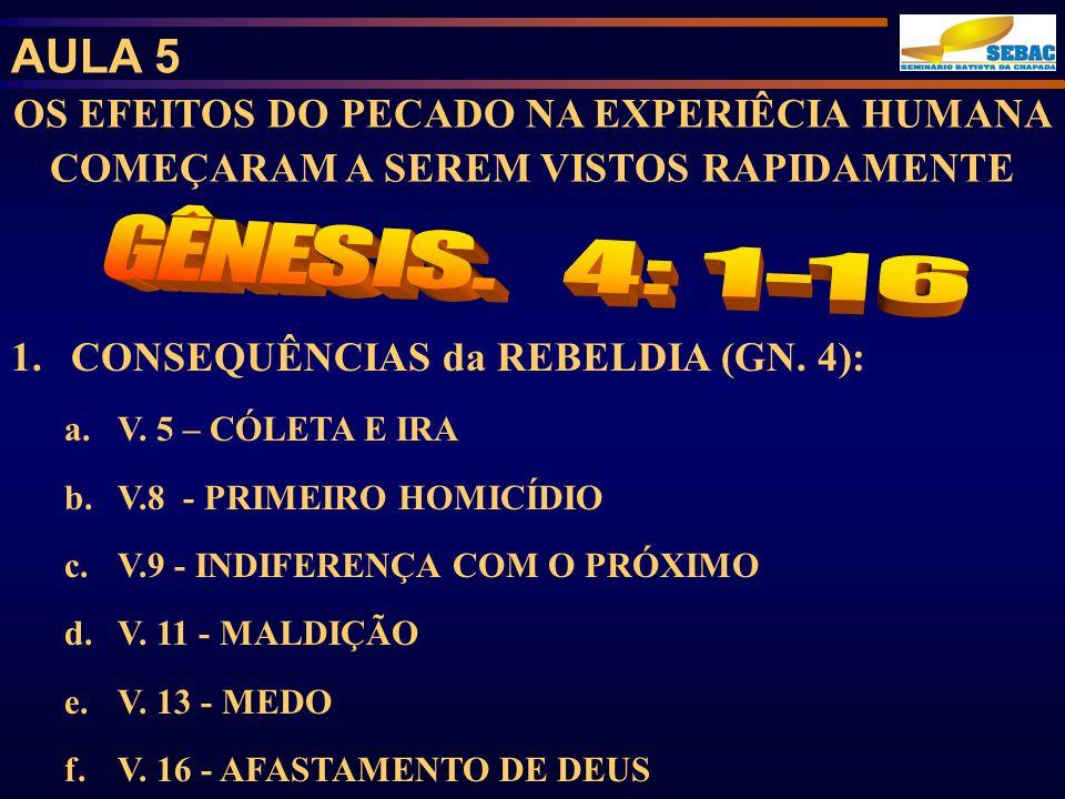 AULA 5 OS EFEITOS DO PECADO NA EXPERIÊCIA HUMANA COMEÇARAM A SEREM VISTOS RAPIDAMENTE. GÊNESIS. 4: 1-16.