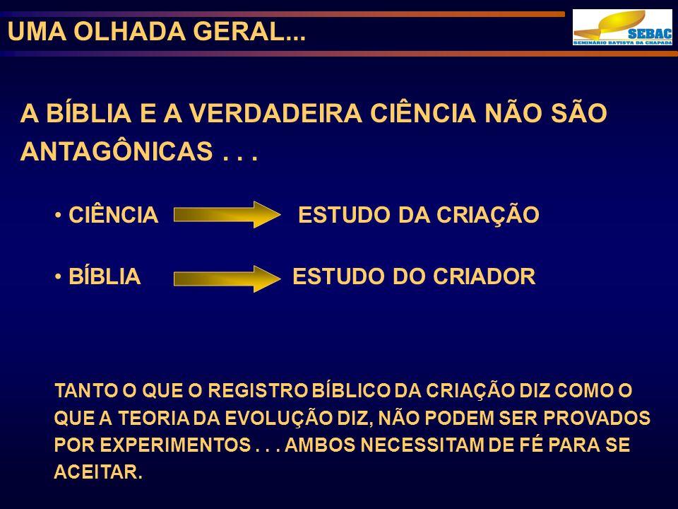 A BÍBLIA E A VERDADEIRA CIÊNCIA NÃO SÃO ANTAGÔNICAS . . .