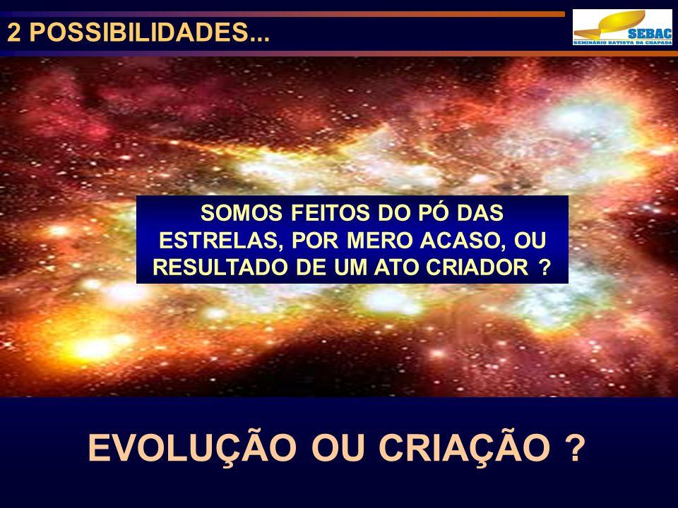 EVOLUÇÃO OU CRIAÇÃO 2 POSSIBILIDADES...