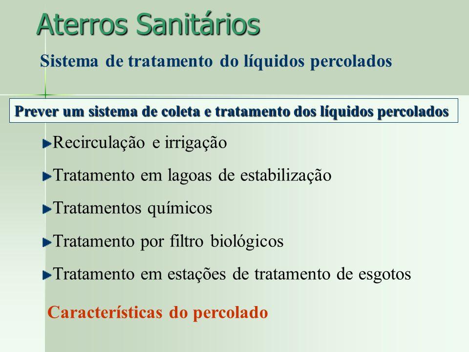 Aterros Sanitários Sistema de tratamento do líquidos percolados