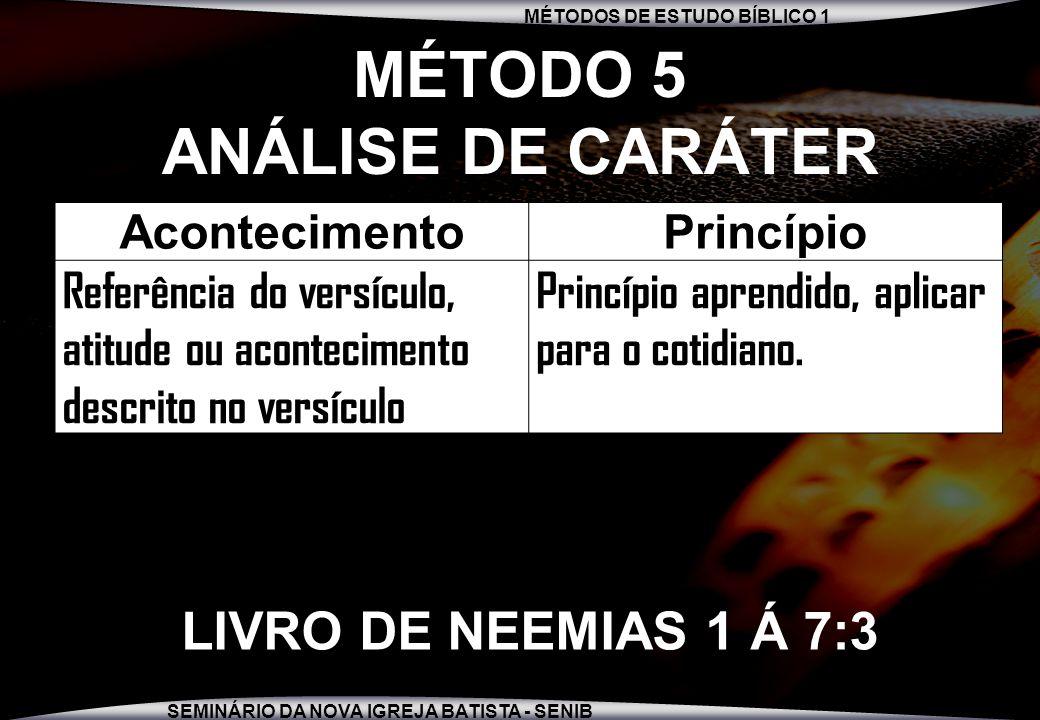 MÉTODO 5 ANÁLISE DE CARÁTER
