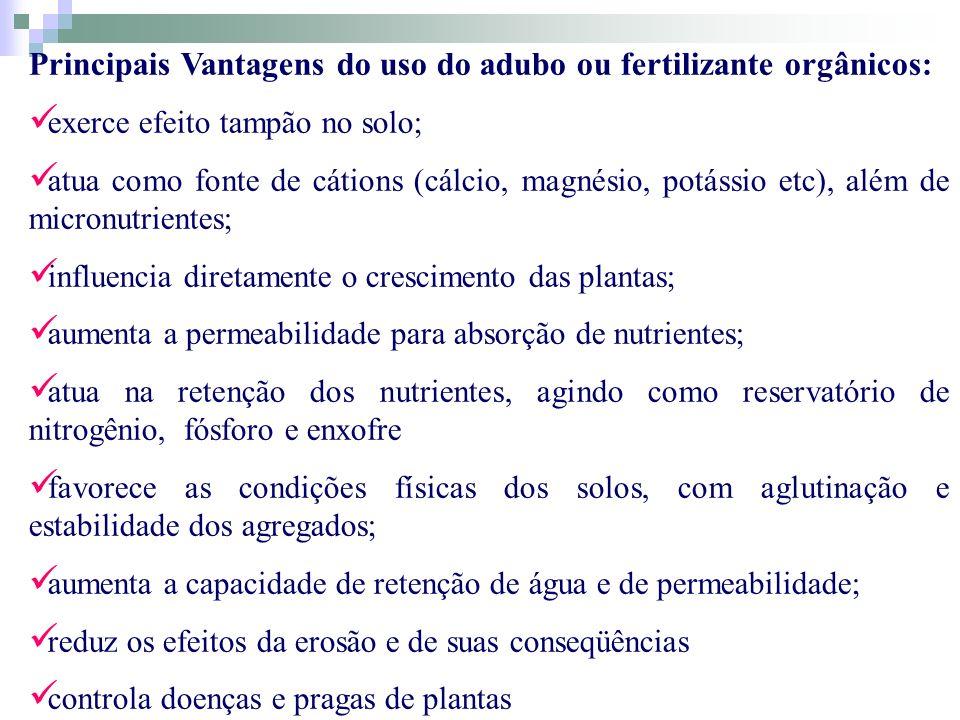 Principais Vantagens do uso do adubo ou fertilizante orgânicos: