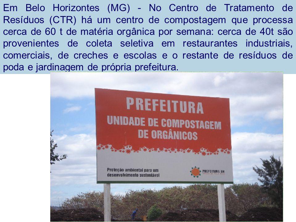 Em Belo Horizontes (MG) - No Centro de Tratamento de Resíduos (CTR) há um centro de compostagem que processa cerca de 60 t de matéria orgânica por semana: cerca de 40t são provenientes de coleta seletiva em restaurantes industriais, comerciais, de creches e escolas e o restante de resíduos de poda e jardinagem de própria prefeitura.