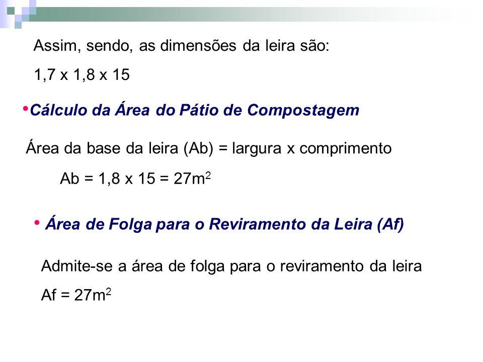 Assim, sendo, as dimensões da leira são: